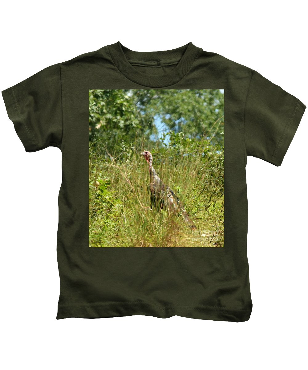 Turkey Kids T-Shirt featuring the photograph Wild Turkey In The Sun by Neal Eslinger