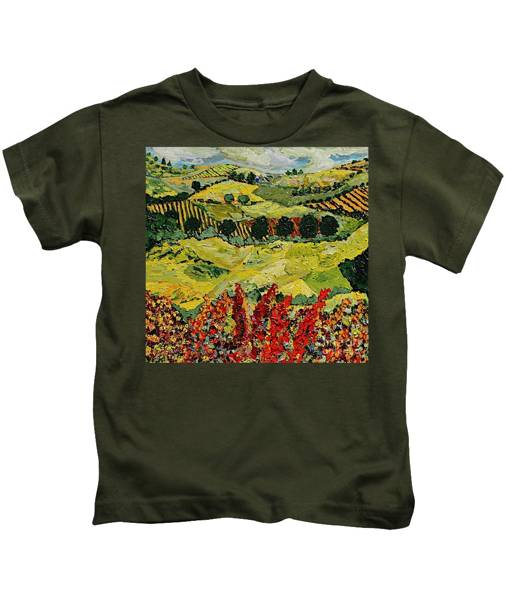 Landscape Kids T-Shirt featuring the painting Wildflower Jungle by Allan P Friedlander