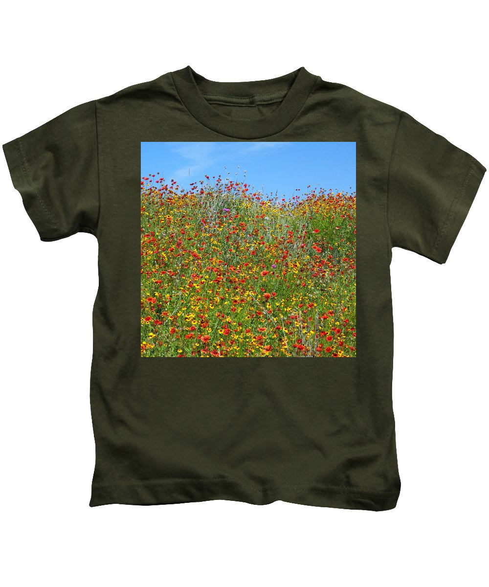 Wildflowers Kids T-Shirt featuring the photograph Wildflowers And Sky 2am-110541 by Andrew McInnes