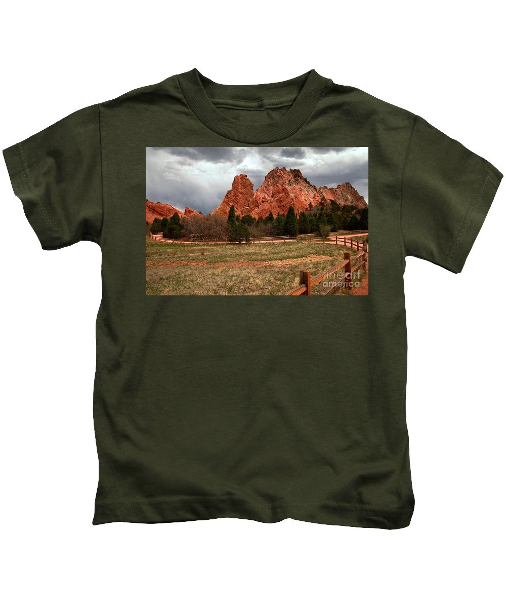 Sunrise At Garden Of The Gods Kids T-Shirt featuring the photograph Winding Through The Garden Of The Gods by Adam Jewell