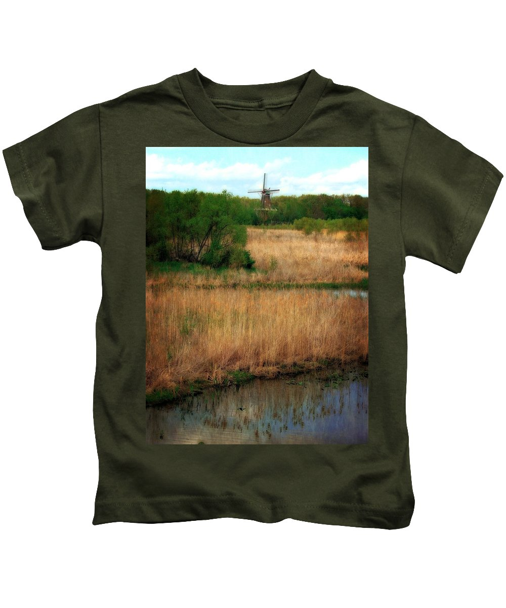 Windmill Island Kids T-Shirt featuring the photograph Window On The Waterfront Dezwaan Windmill by Michelle Calkins