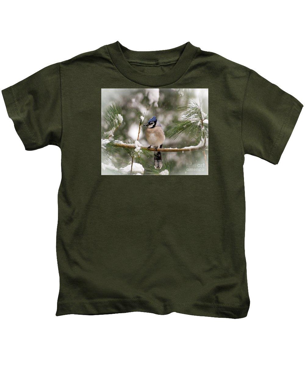 Blue Jay Kids T-Shirt featuring the photograph Winter Blue Jay by Kerri Farley