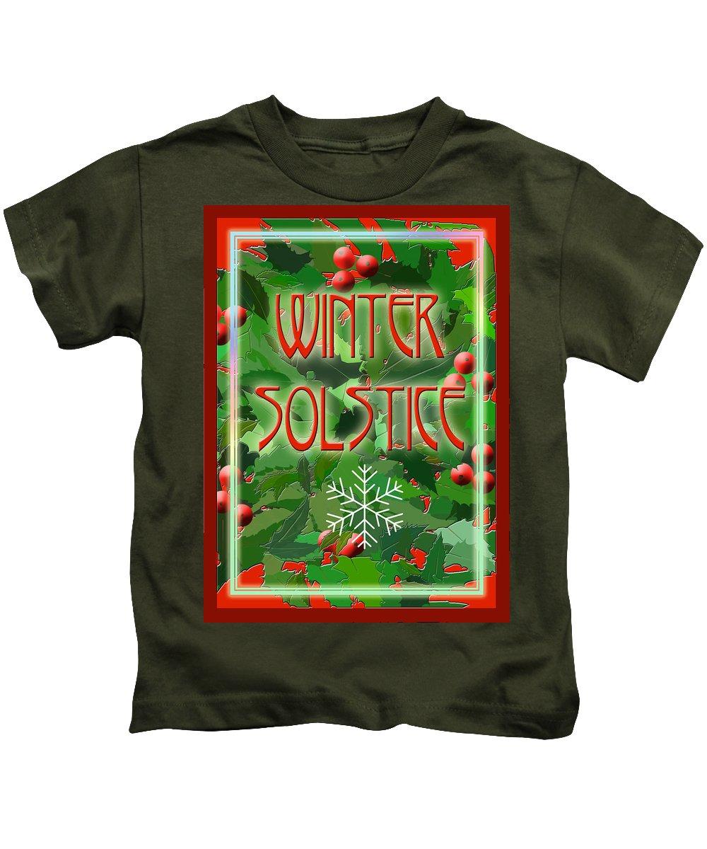 Yule Kids T-Shirt featuring the digital art Winter Solstice by Melissa A Benson