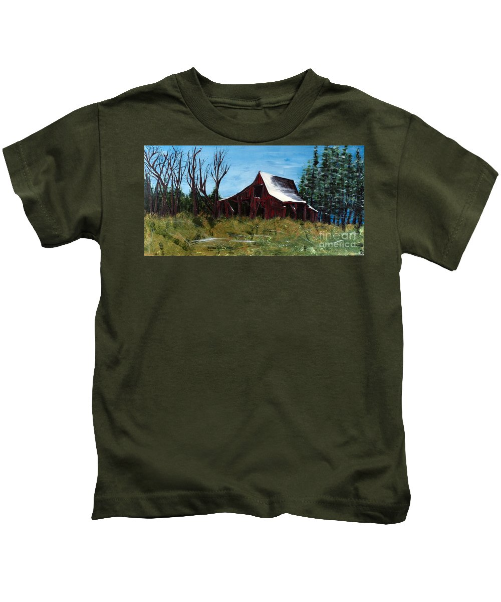 Barn Kids T-Shirt featuring the painting Winter's End by Rebecca Weeks Howard