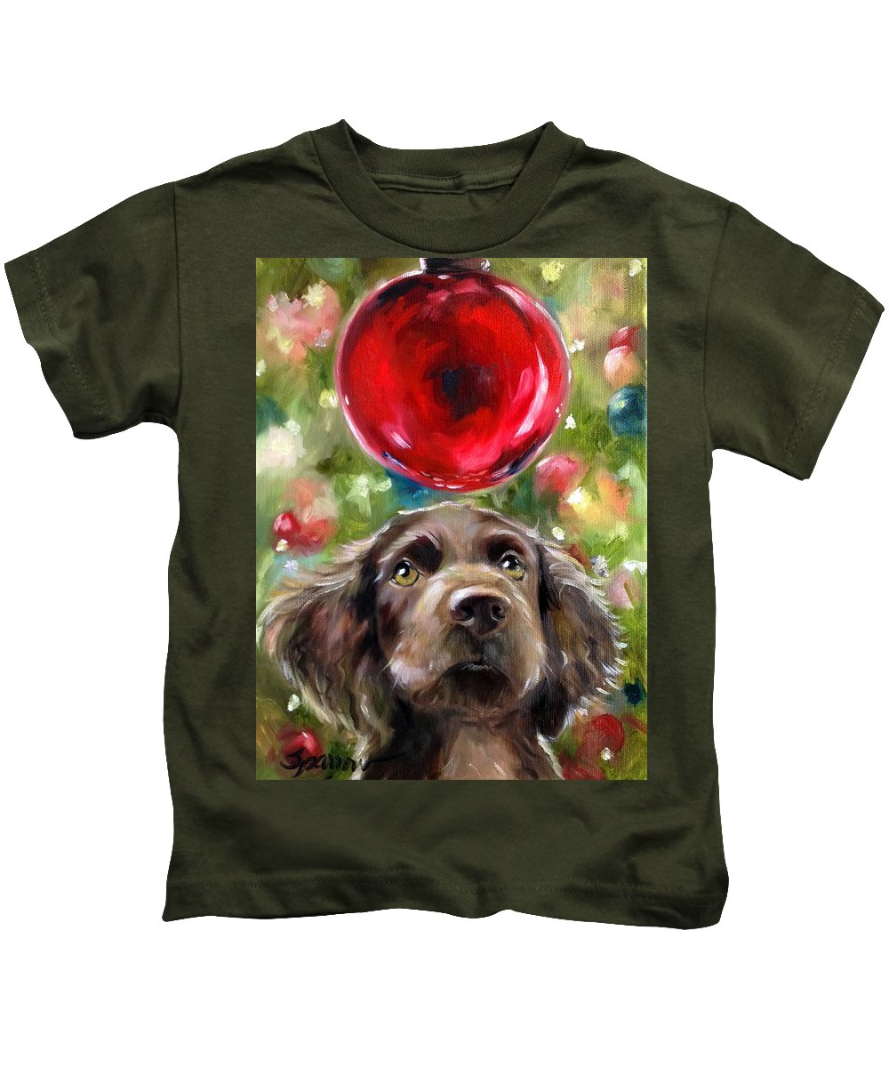 Boykin Spaniel Kids T-Shirt featuring the painting Wish by Mary Sparrow
