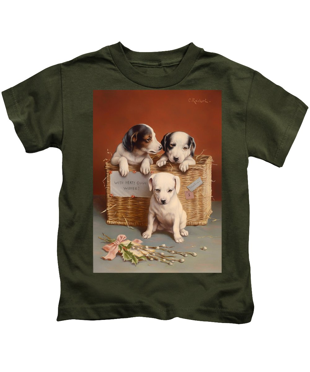 Puppy Kids T-Shirt featuring the painting With Hearty Good Wishes by Mountain Dreams