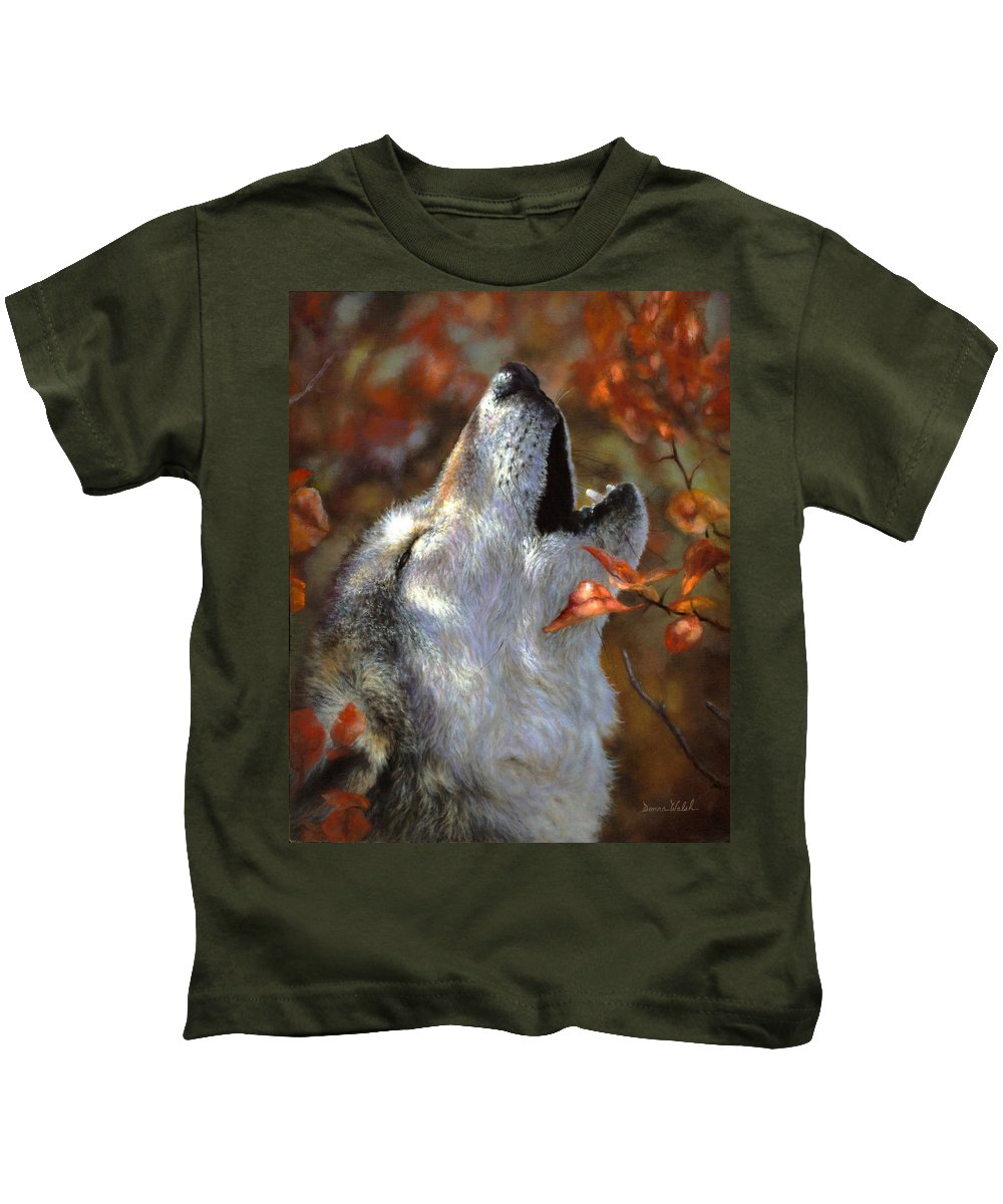 Wolf Kids T-Shirt featuring the painting Wolf Song by Donna Hillman Walsh