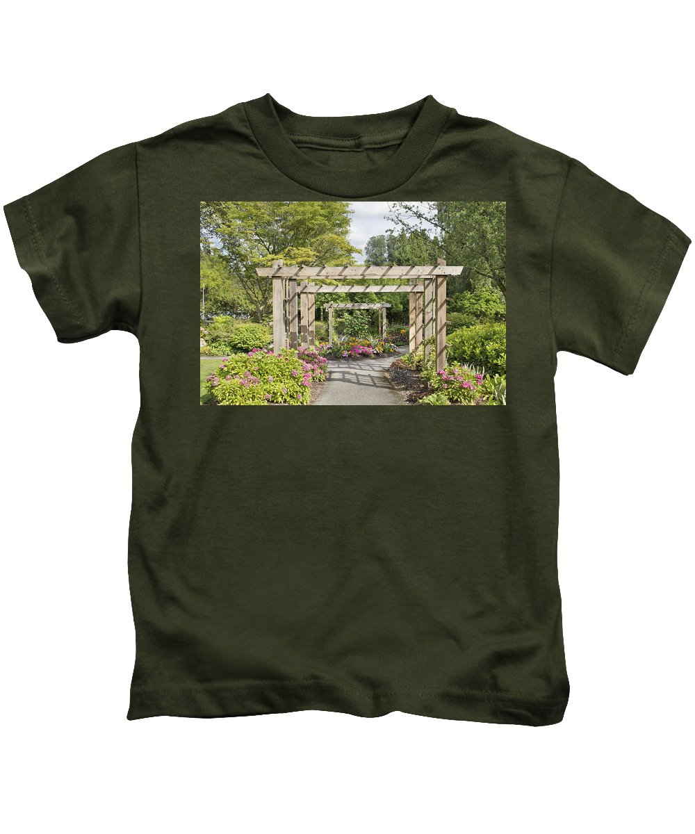 Wood Kids T-Shirt featuring the photograph Wood Arbor Over Garden Path by Jit Lim