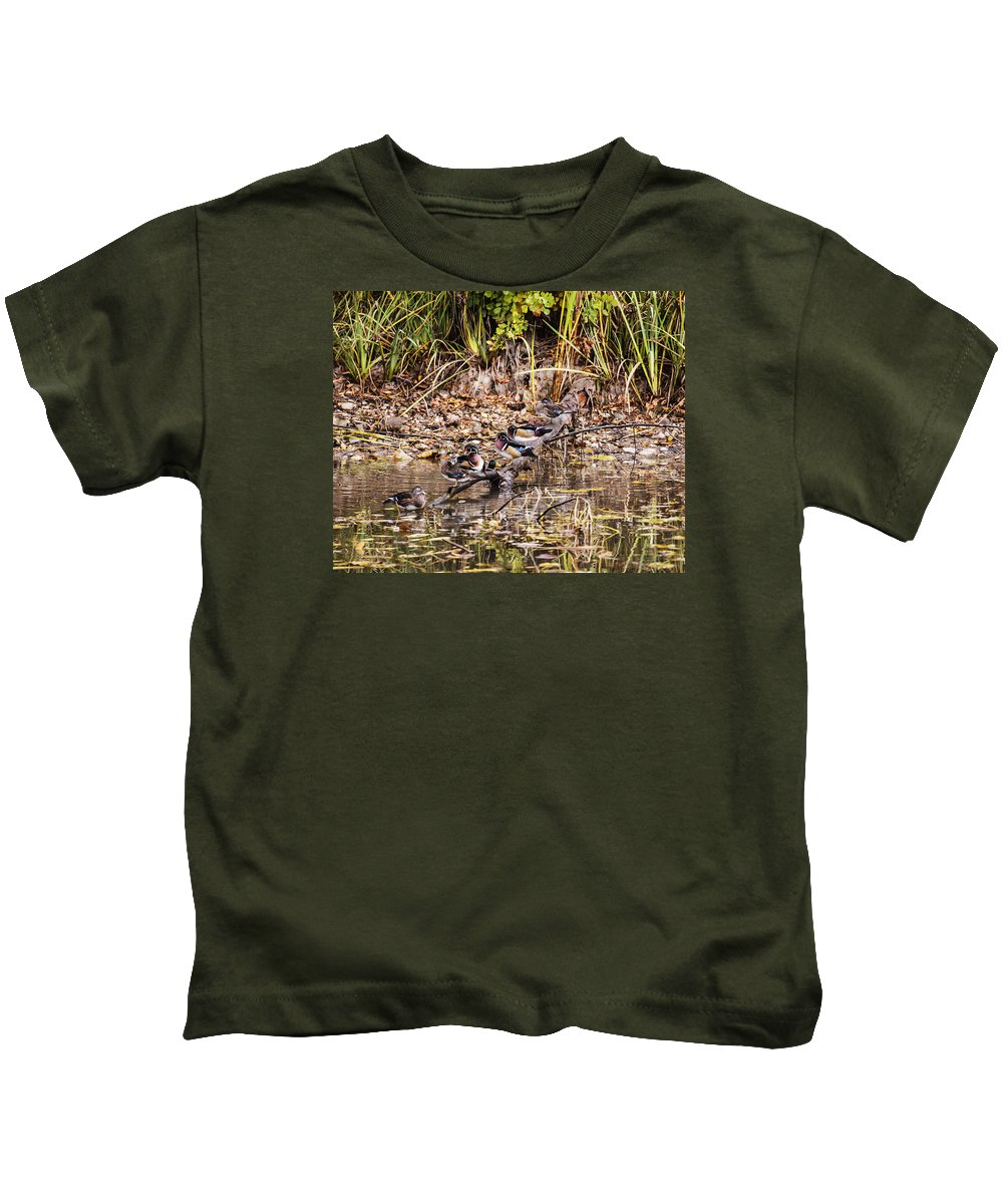 Wood Duck Kids T-Shirt featuring the photograph Wood Ducks by Vishwanath Bhat