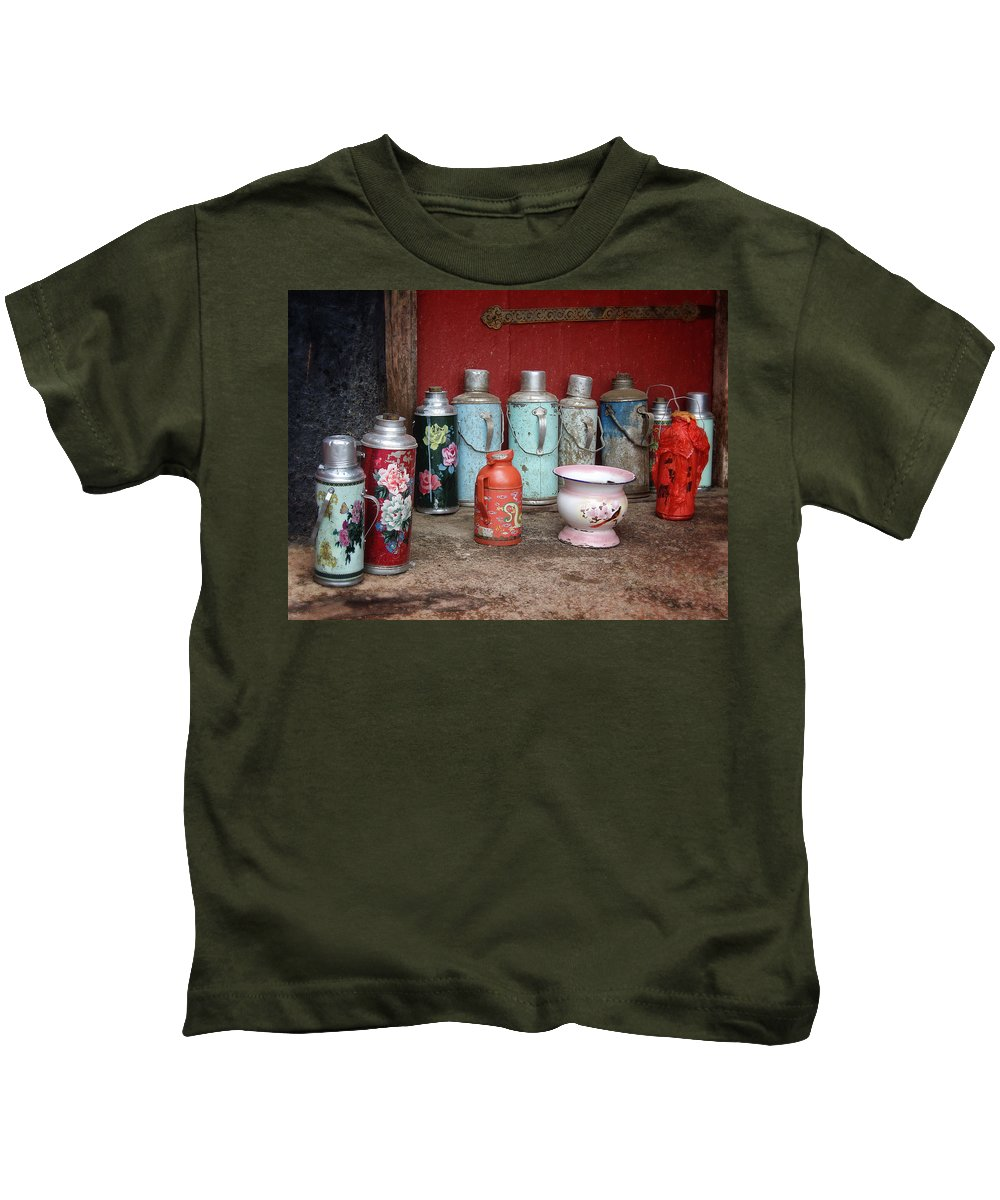 Red Kids T-Shirt featuring the photograph Yak Butter Thermoses by Joan Carroll