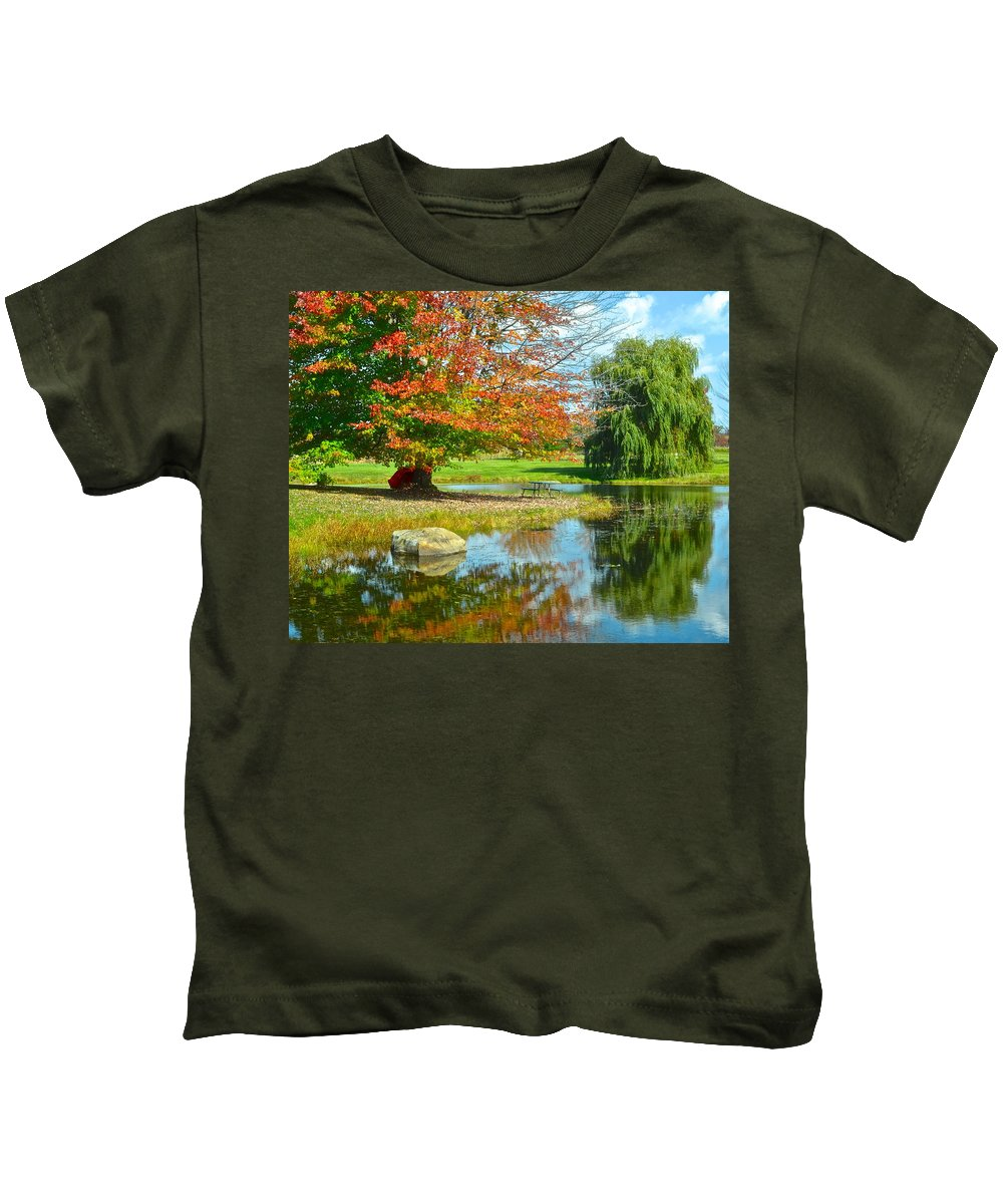 Yellow Kids T-Shirt featuring the photograph Yellow And Blue Make Green by Frozen in Time Fine Art Photography