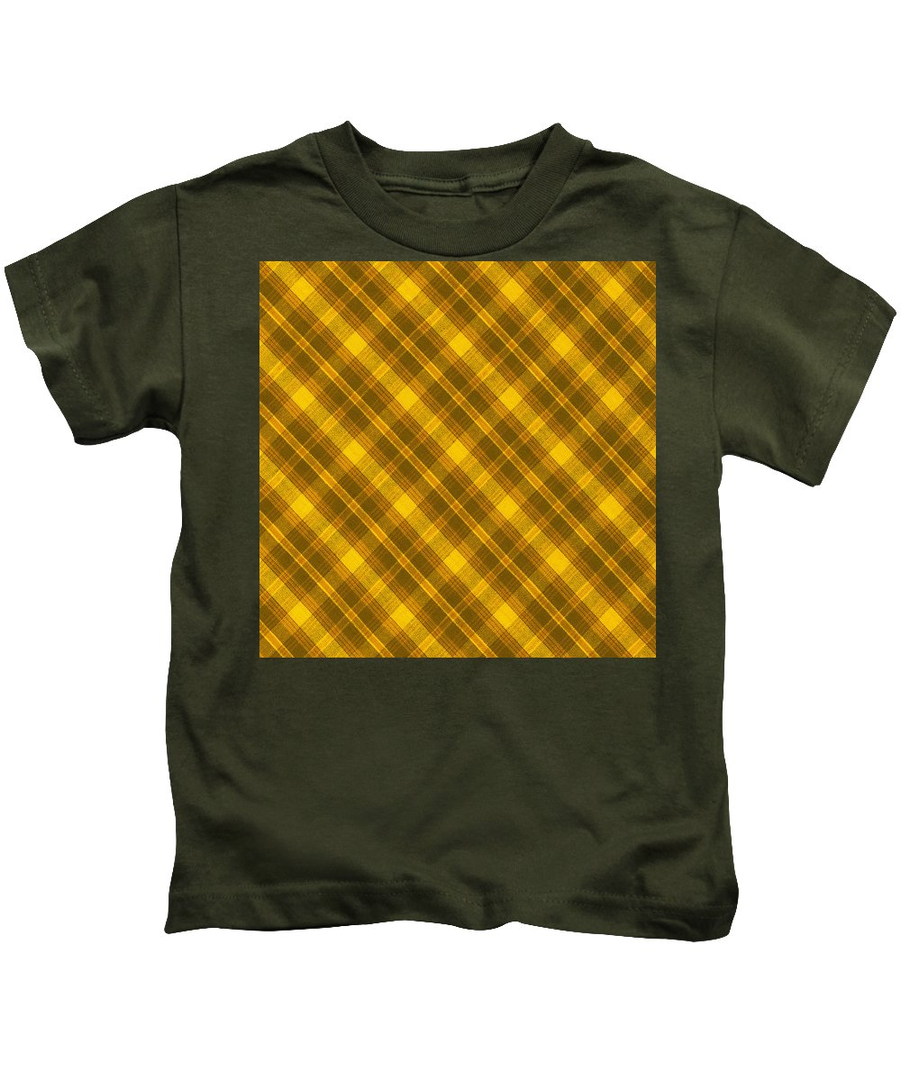 Pattern Kids T-Shirt featuring the photograph Yellow And Brown Diagonal Plaid Pattern Cloth Background by Keith Webber Jr
