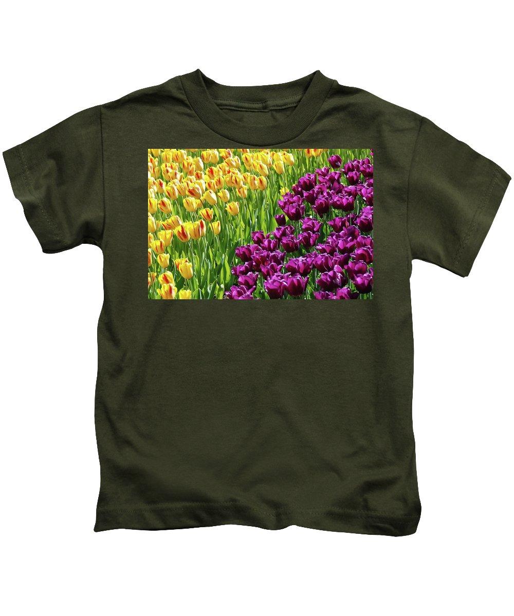 Yellow And Purple Tulips Kids T-Shirt featuring the photograph Yellow And Purple Tulips by Allen Beatty
