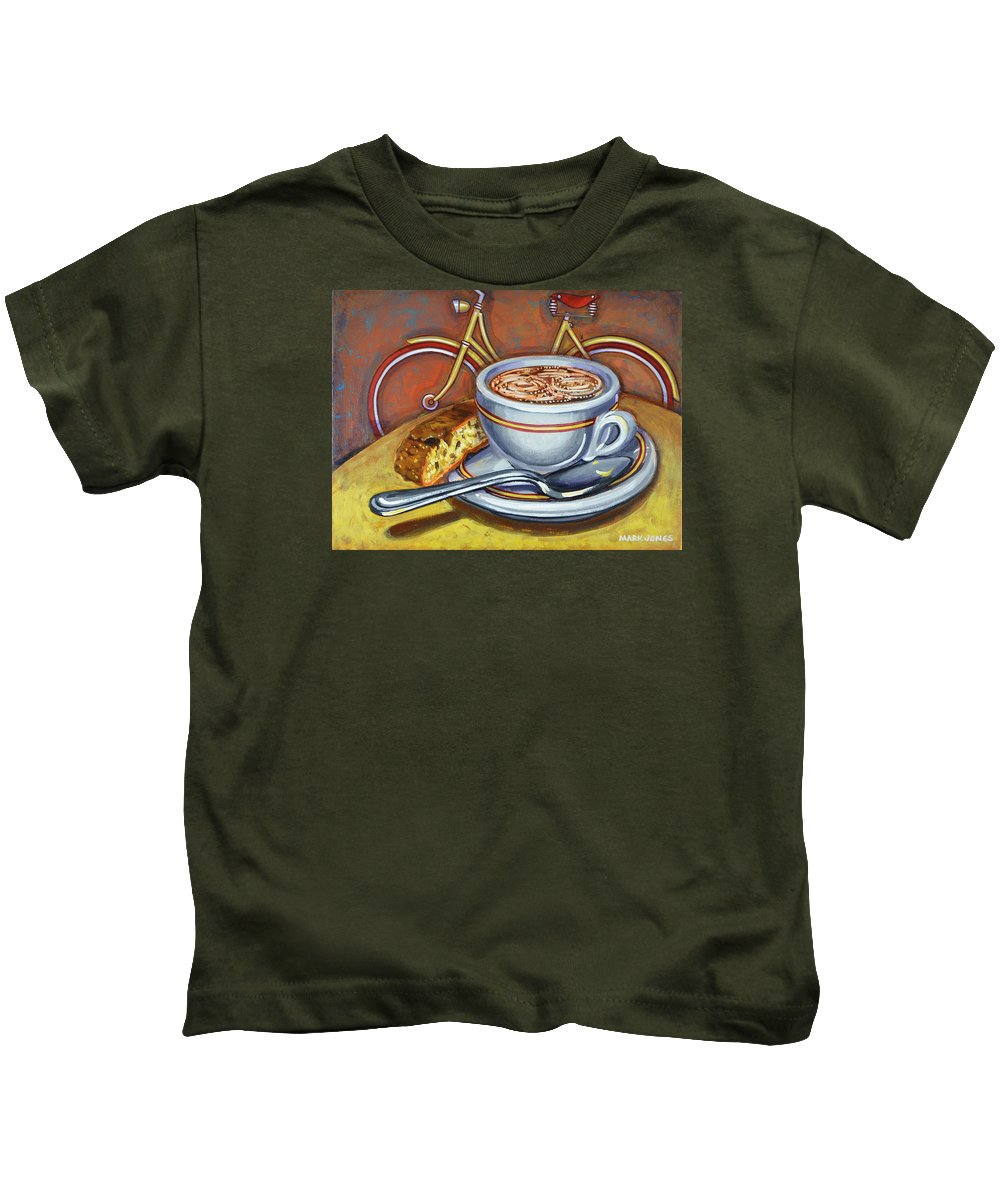 Coffee Kids T-Shirt featuring the painting Yellow Dutch Bicycle With Cappuccino And Biscotti by Mark Jones