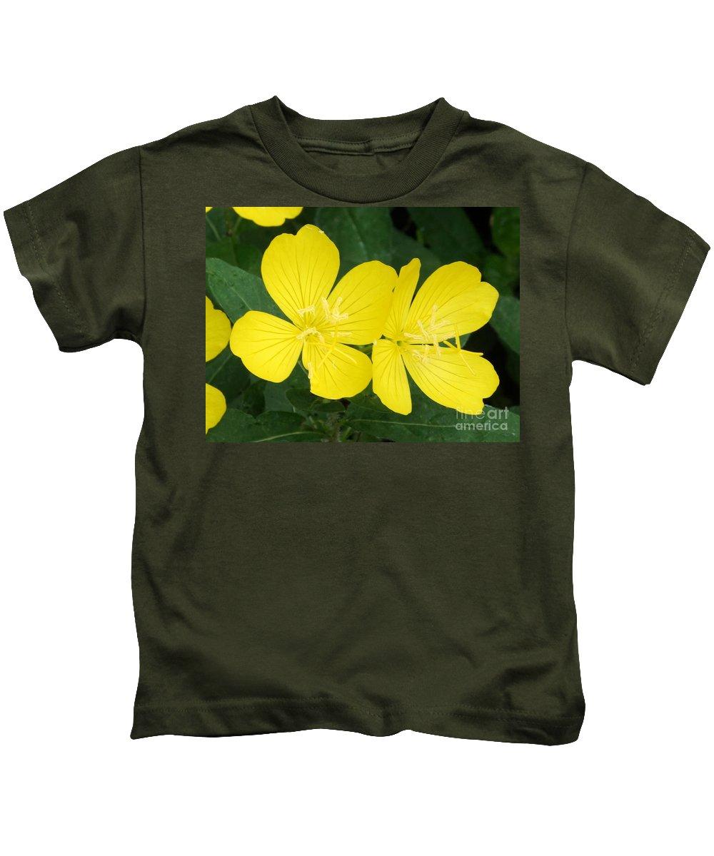 Yellow Kids T-Shirt featuring the photograph Yellow Primrose by Lori Tordsen