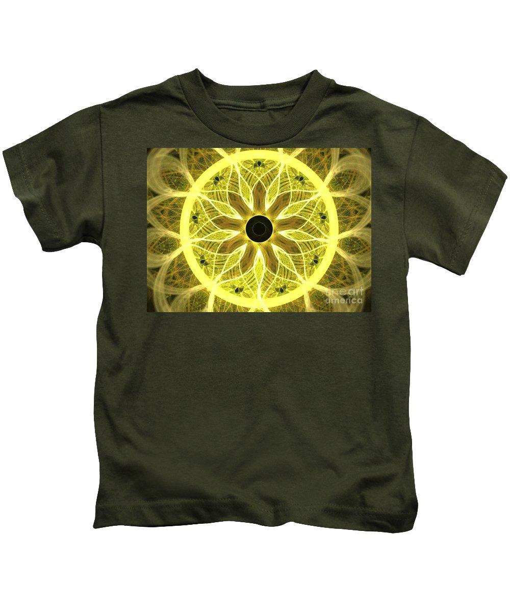 Apophysis Kids T-Shirt featuring the digital art Yellow Rays by Kim Sy Ok