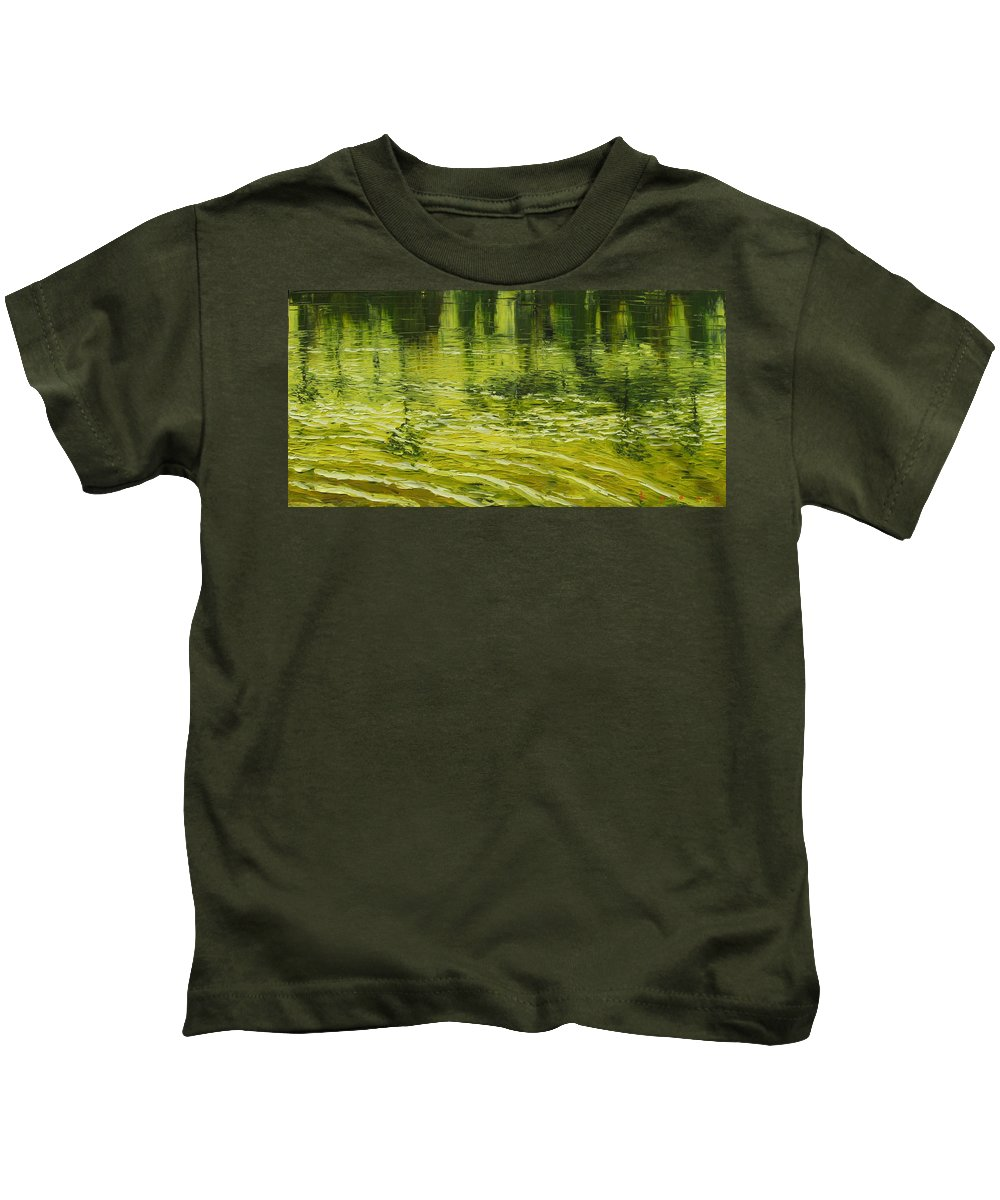 Landscape Kids T-Shirt featuring the painting Yellow Skies by Les Lyden