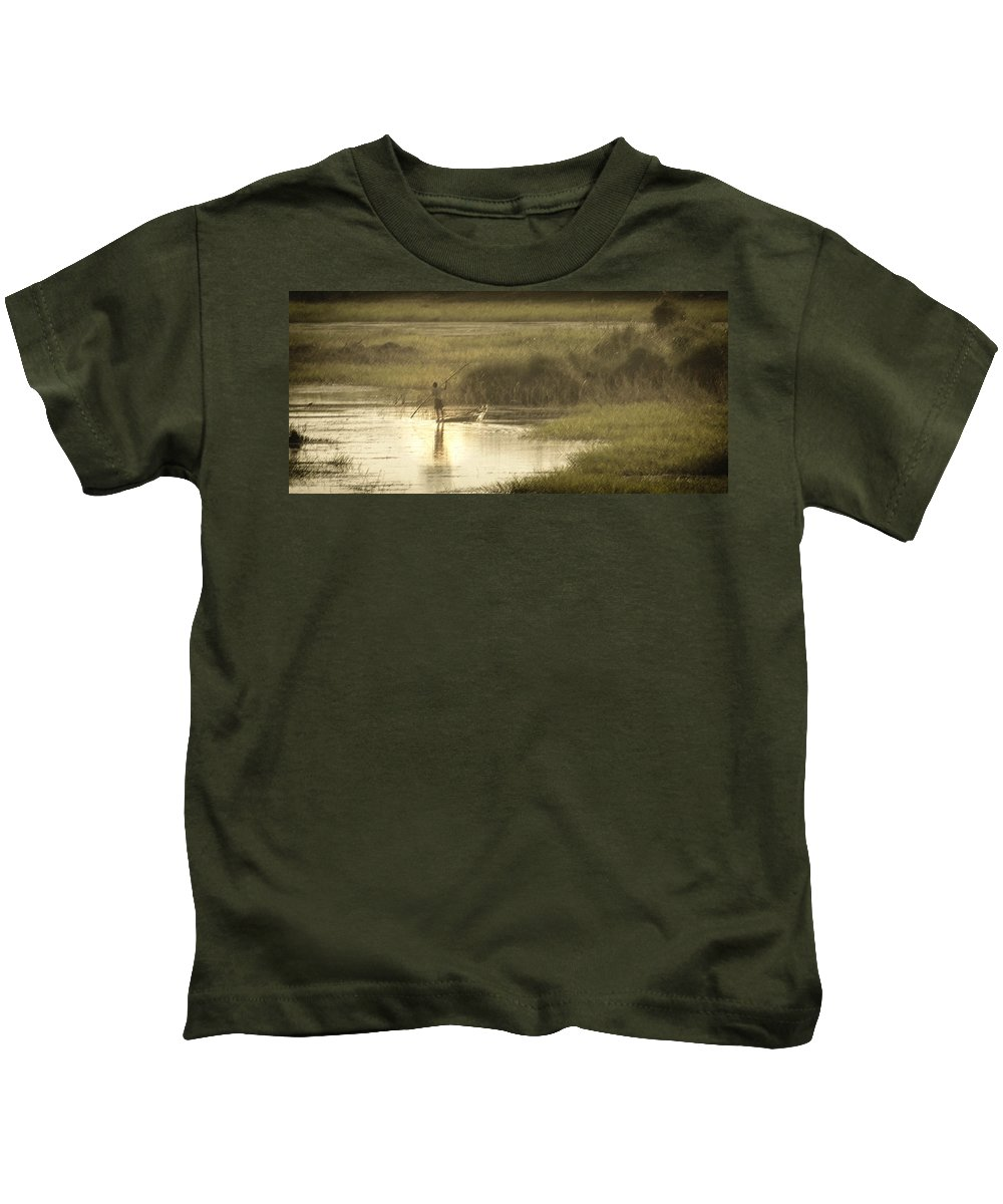 Pole Kids T-Shirt featuring the photograph Young Man On The Nile by Claudio Bacinello