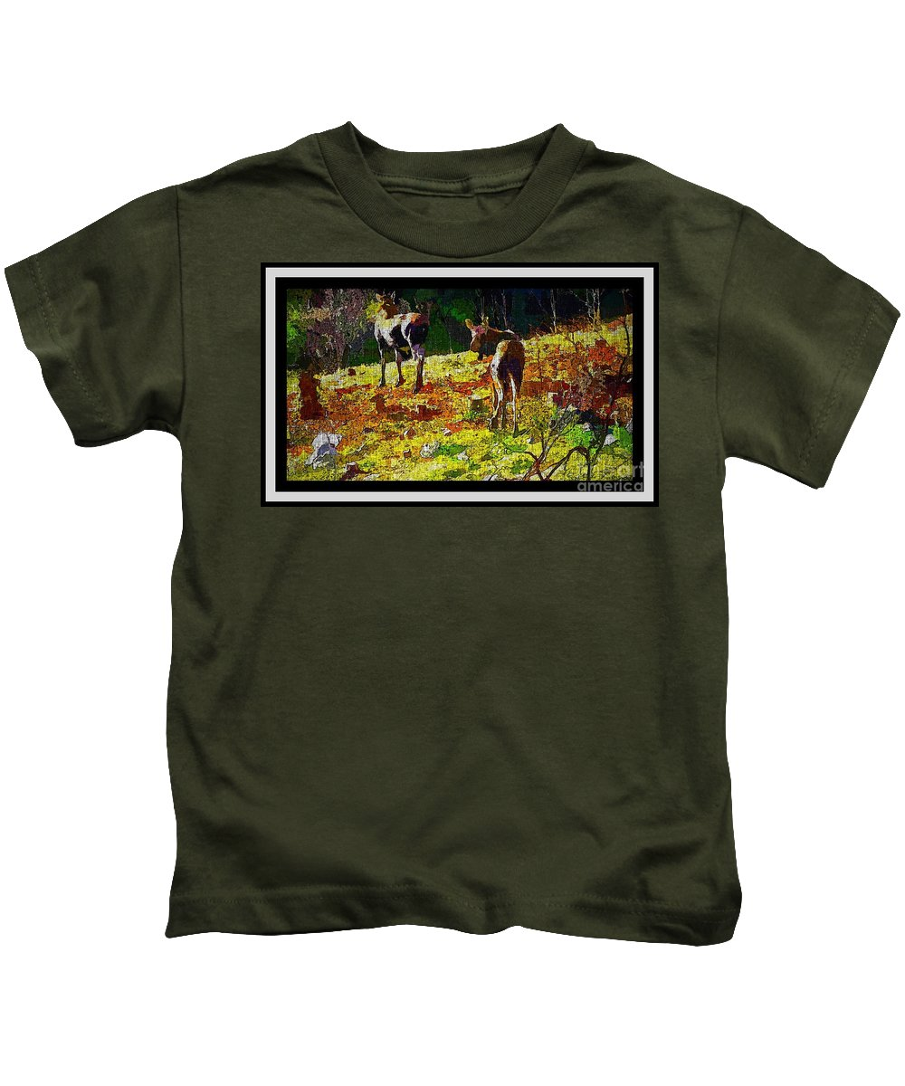 Young Moose In Autumn Kids T-Shirt featuring the photograph Young Moose In Autumn by Barbara Griffin