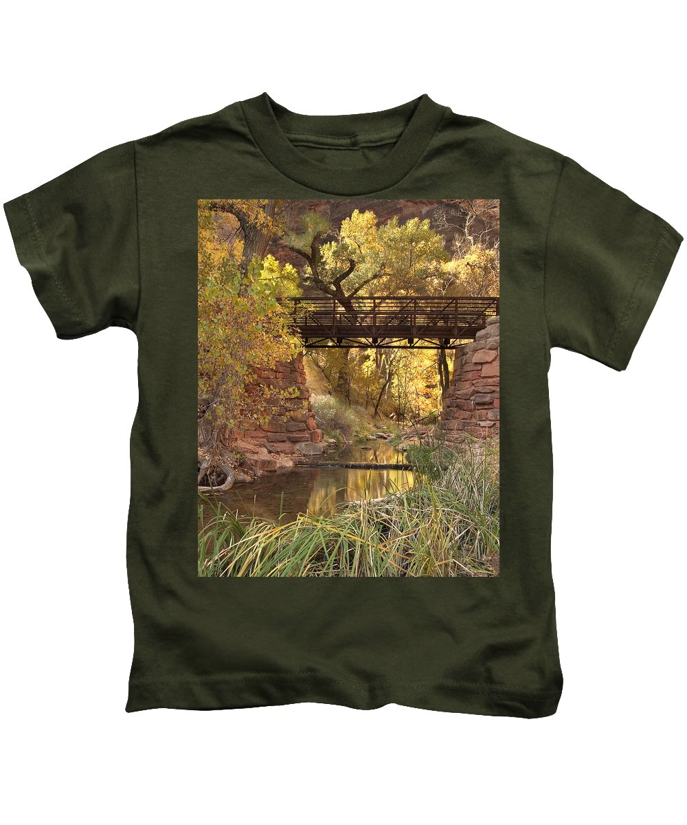 3scape Kids T-Shirt featuring the photograph Zion Bridge by Adam Romanowicz