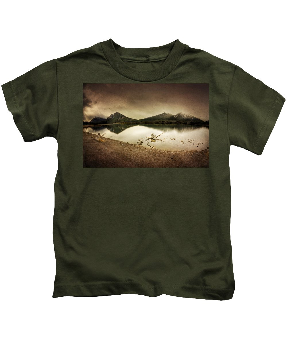 Mountains Kids T-Shirt featuring the digital art Sunrise Reflection by Diane Dugas