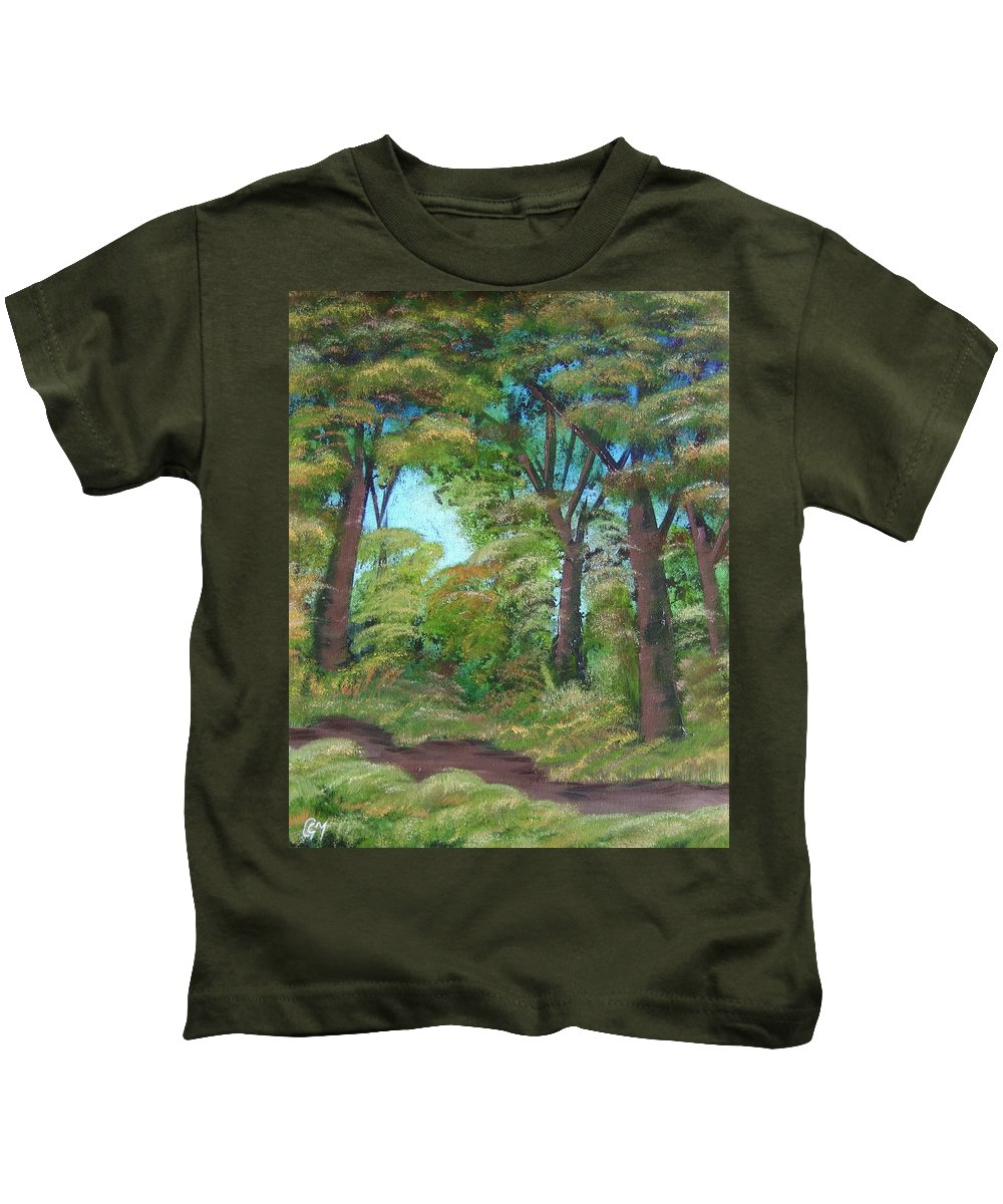 Autumn Kids T-Shirt featuring the painting Autumn Evening by Charles and Melisa Morrison