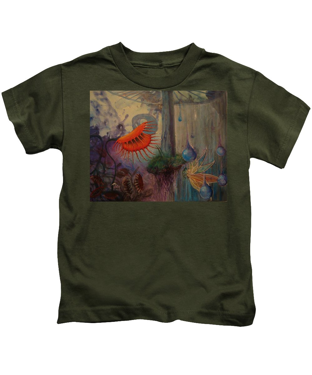 Flytraps Kids T-Shirt featuring the painting Birth by Mindy Huntress