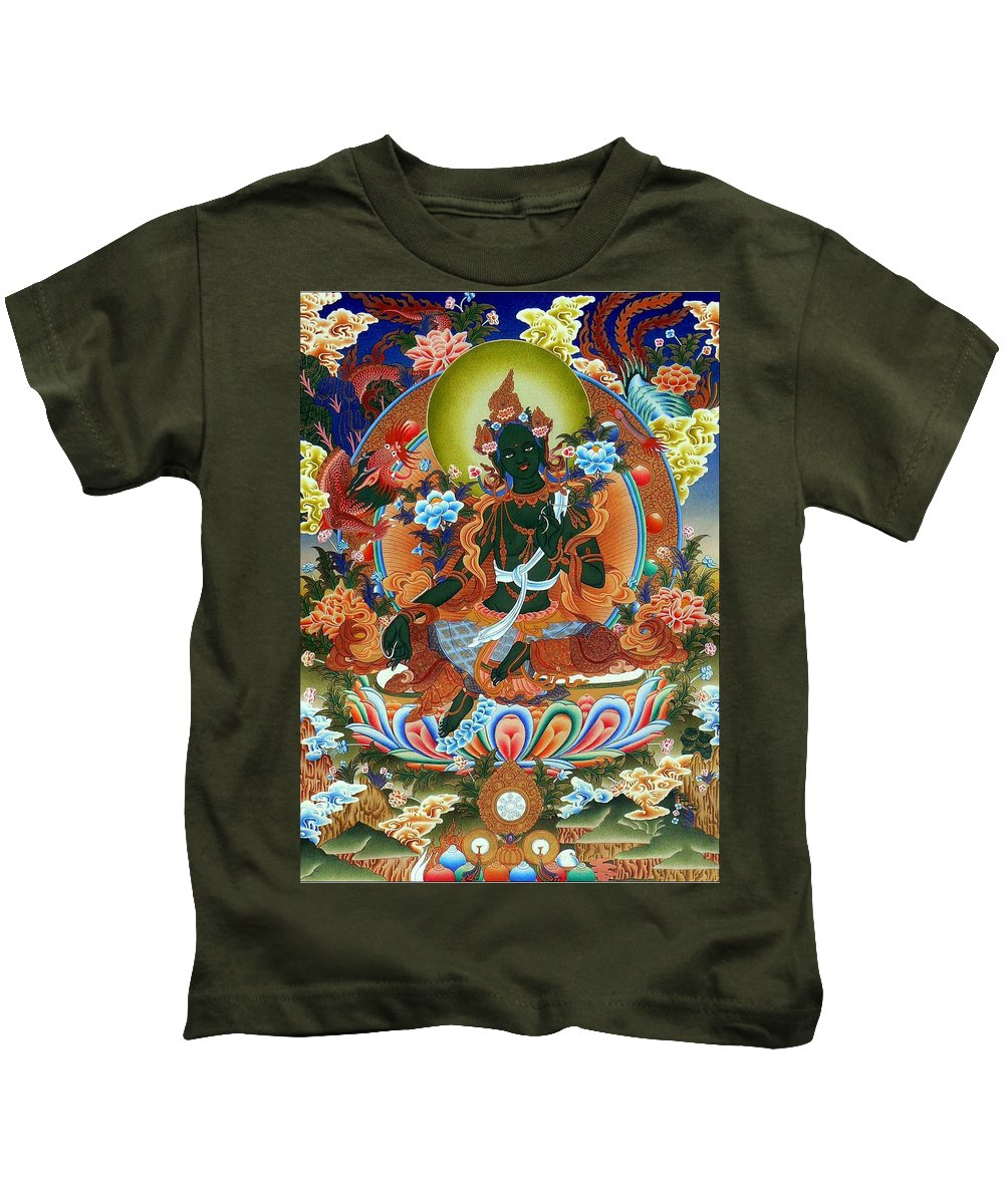 Green Tara Kids T-Shirt featuring the photograph Green Tara 2 by Jeelan Clark