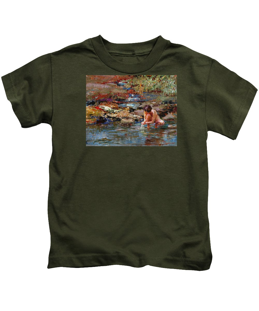 Nude Kids T-Shirt featuring the painting Healing Water by Ron Barsano