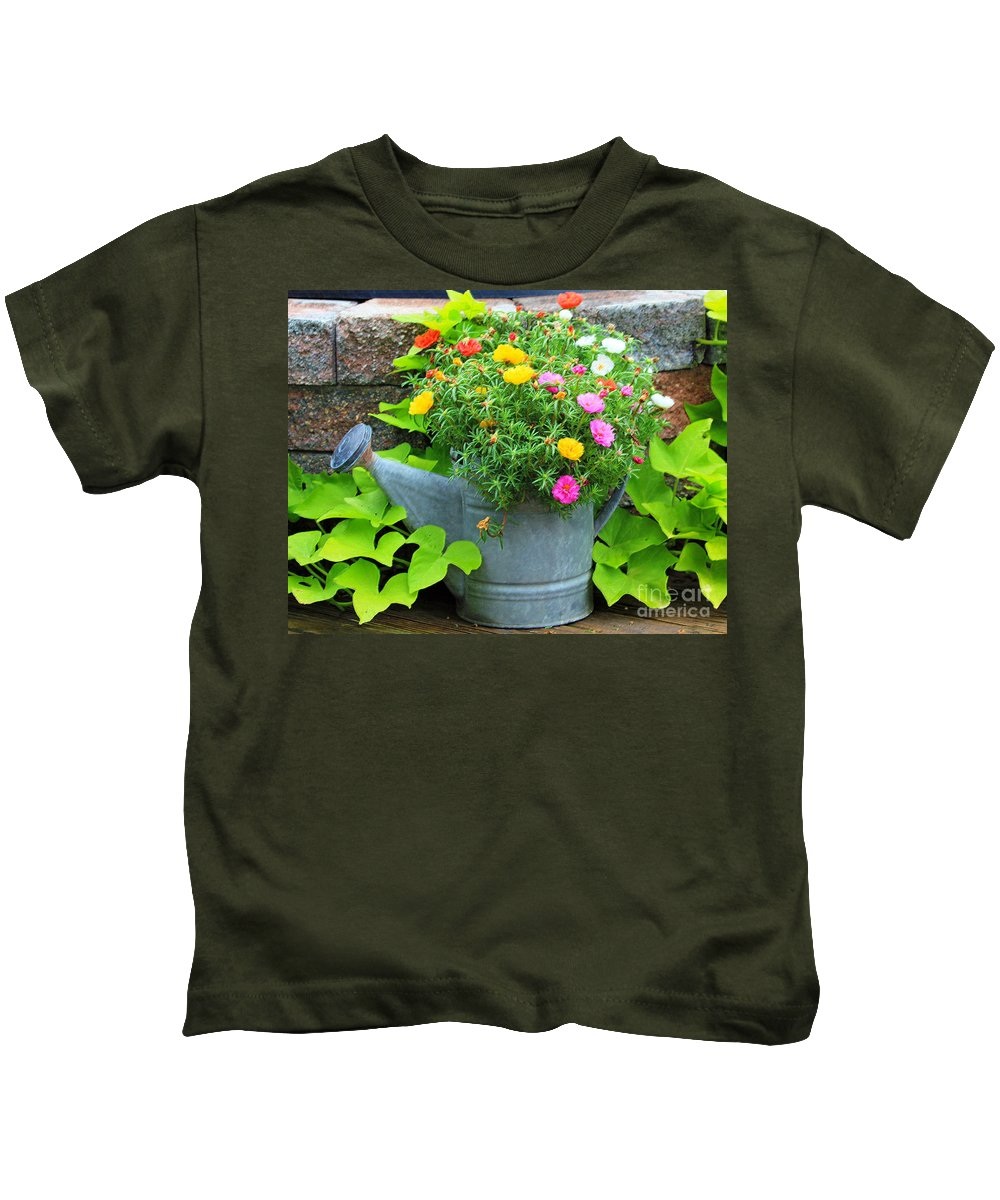 Flowers Kids T-Shirt featuring the photograph Old Watering Can by Jack Schultz