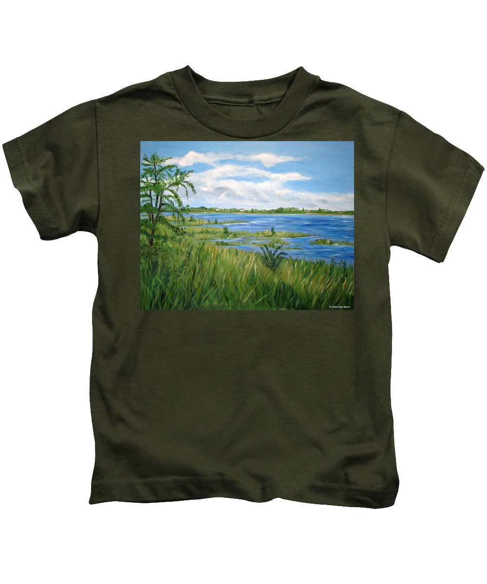 Barnegat Bay Kids T-Shirt featuring the painting Bayville 1 by Clara Sue Beym