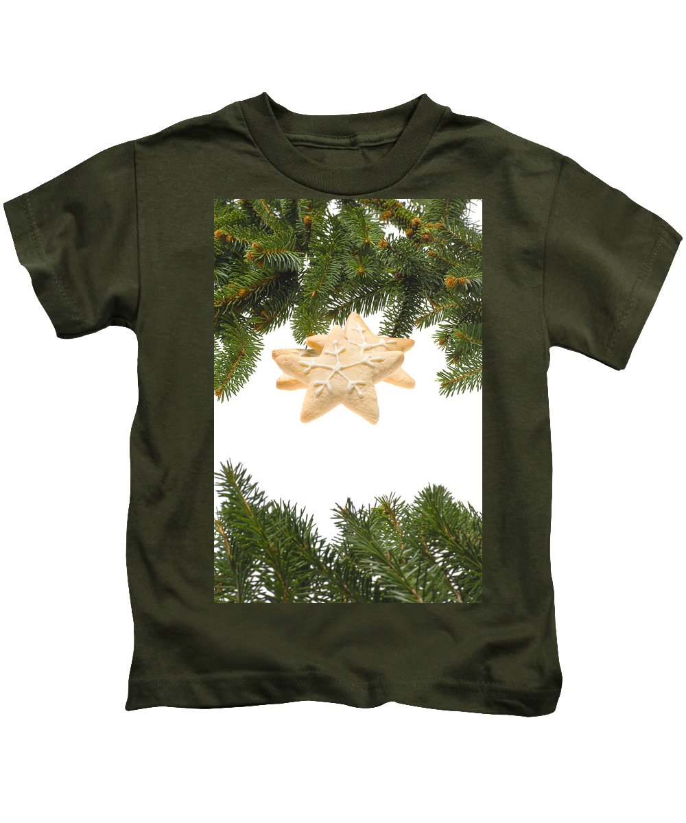 Icing Sugar Kids T-Shirt featuring the photograph Christmas Cookies Decorated With Real Tree Branches by U Schade
