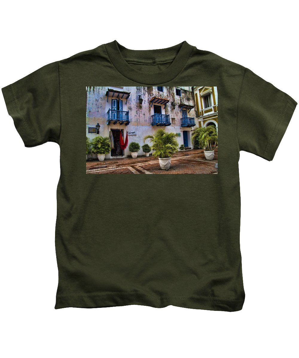Cartagena Kids T-Shirt featuring the photograph Colonial Buildings In Old Cartagena Colombia by David Smith