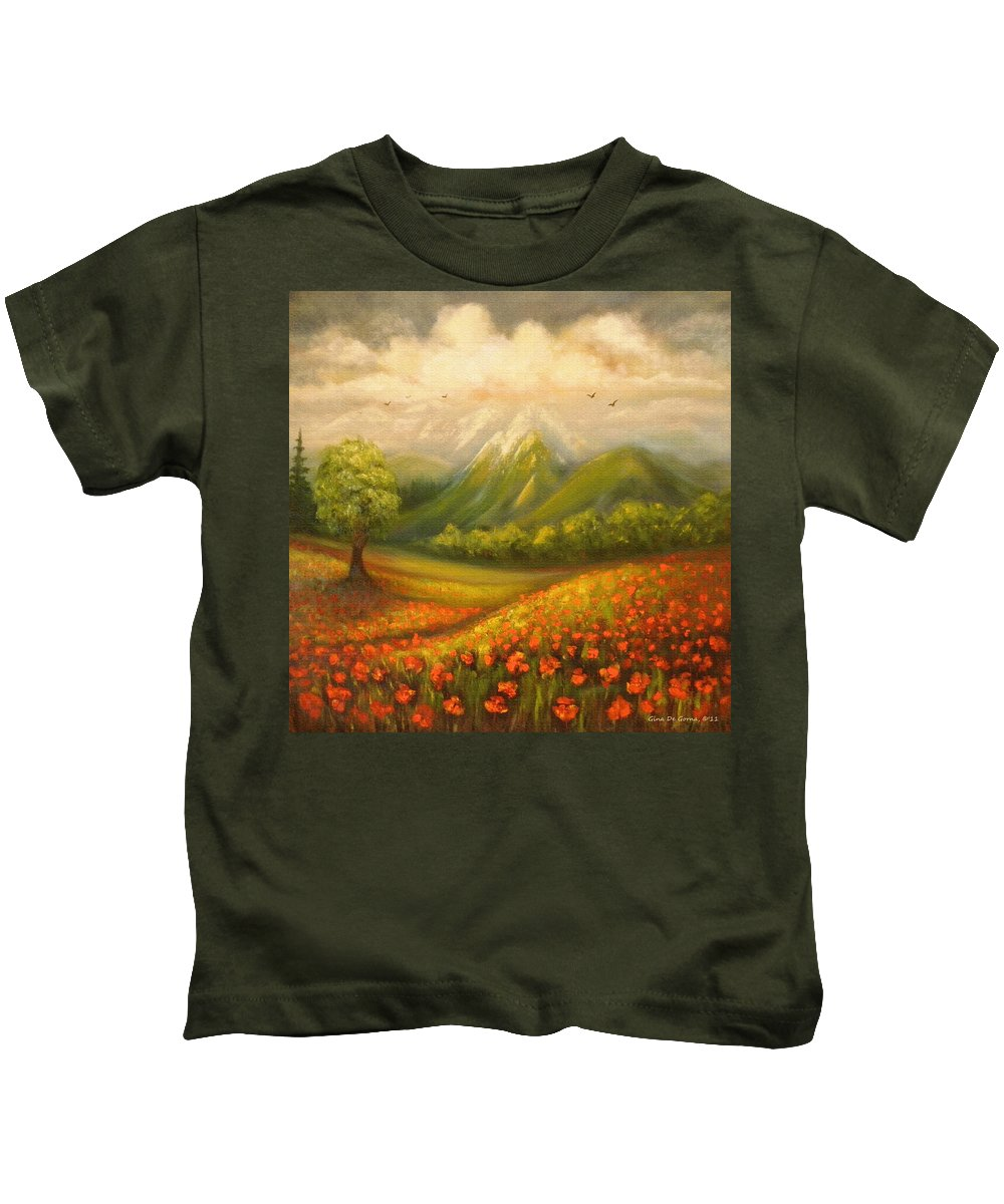 Poppy Field Kids T-Shirt featuring the painting In The Old Mountains by Gina De Gorna