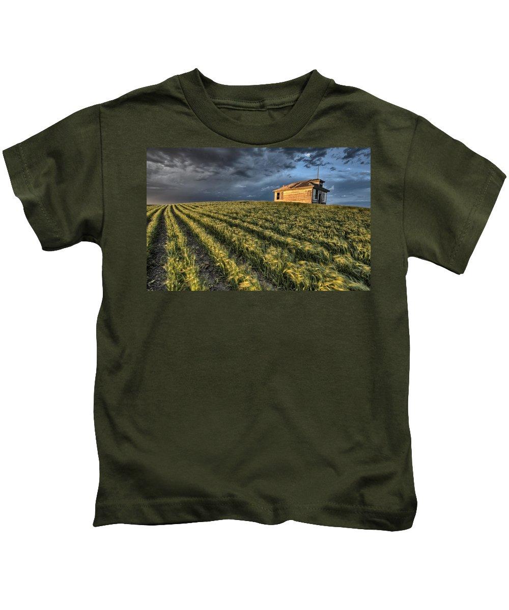 Prairie Kids T-Shirt featuring the digital art Newly Planted Crop by Mark Duffy