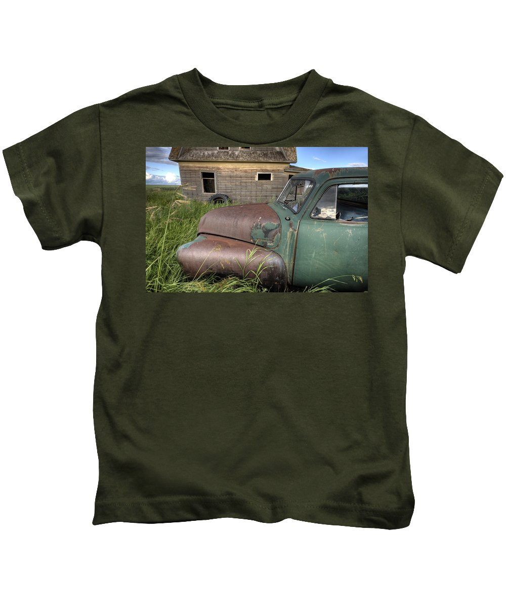 Old Kids T-Shirt featuring the digital art Vintage Farm Trucks by Mark Duffy