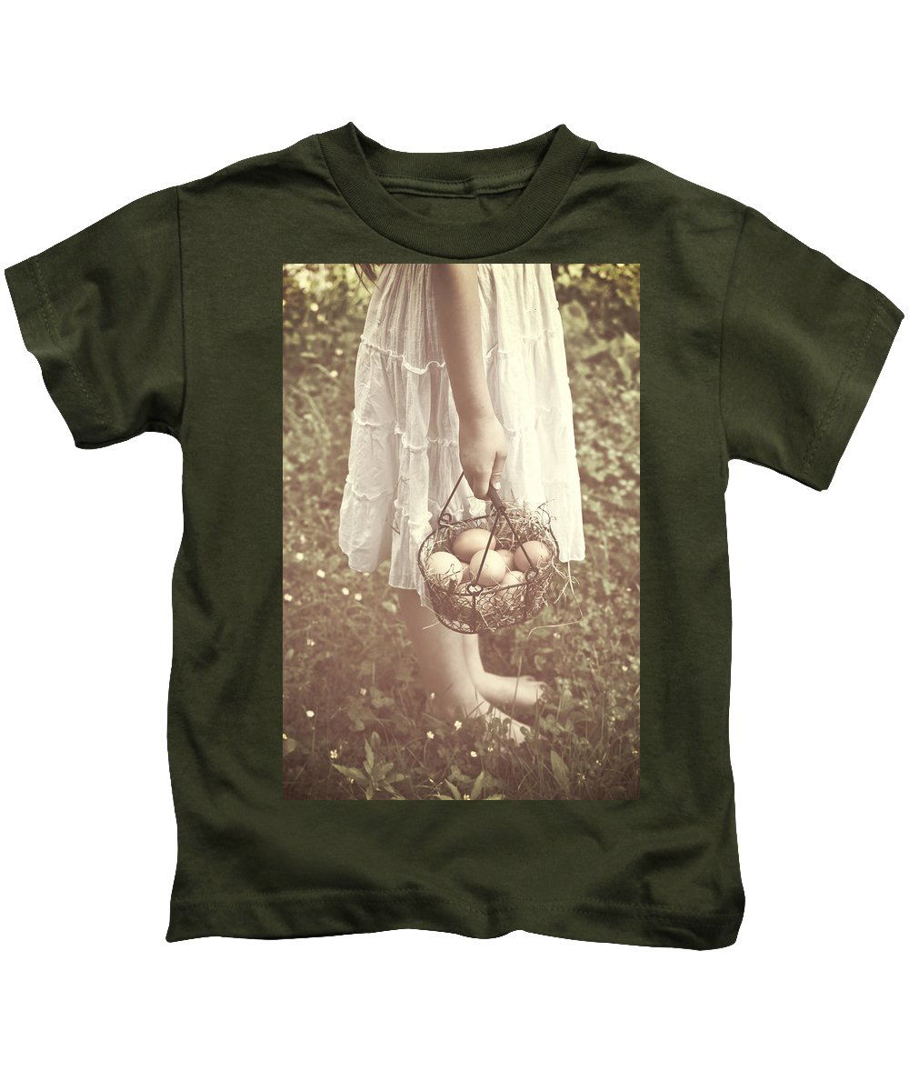 Girl Kids T-Shirt featuring the photograph Eggs by Joana Kruse