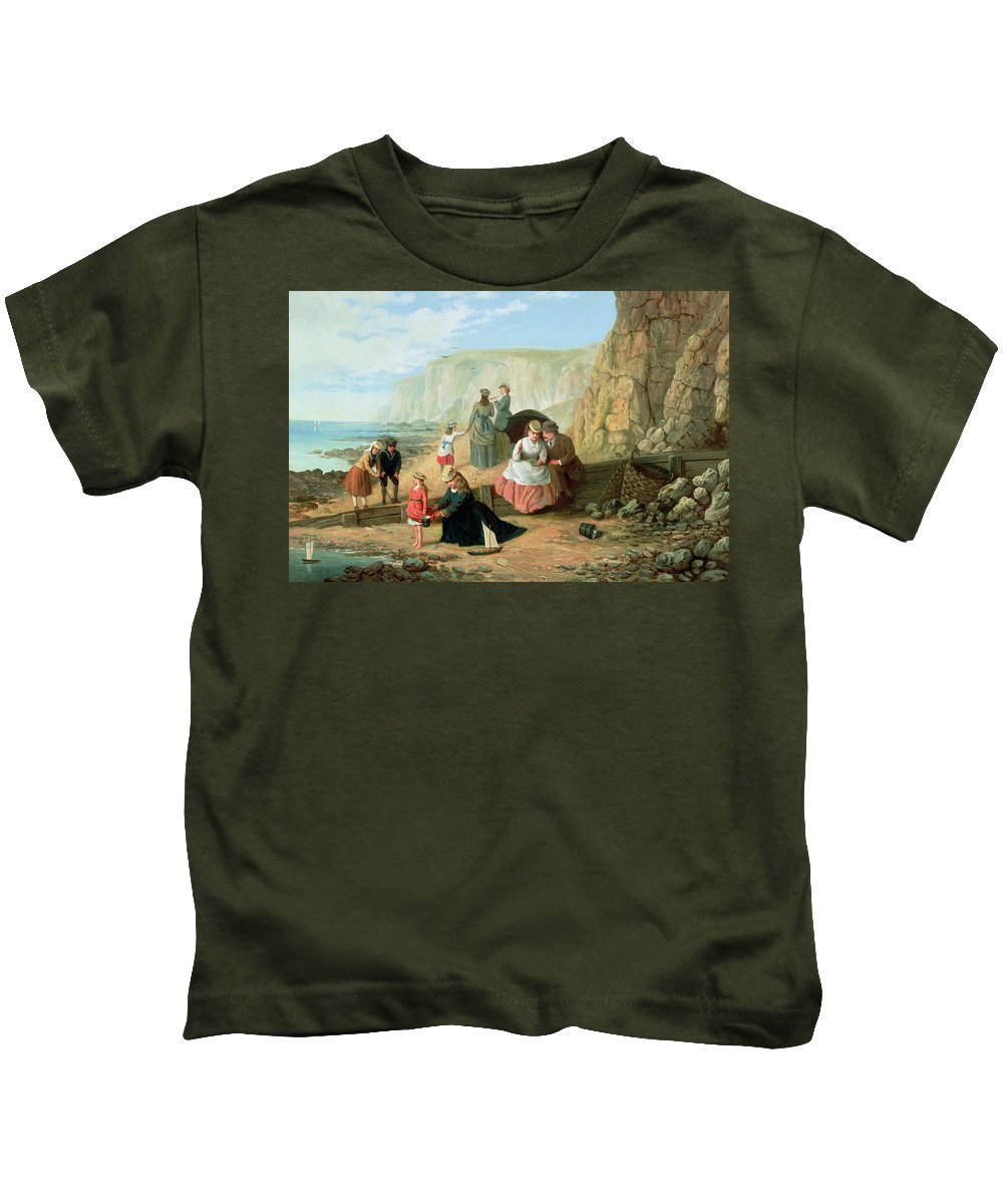 Cliff; Seashore; Cliffs; Summer; Holiday; Family; Lovers; Couple; Children; Spade; Toy; Boat; Sea; Sailor; Suit; Strolling; Pastime; Bucket; Playing; Digging; Telescope; Book; Parasol; Umbrella; Sunshade; Basket; Rocks; Sand Kids T-Shirt featuring the painting A Day At The Seaside by William Scott