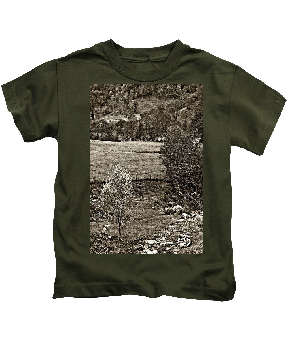 West Virginia Kids T-Shirt featuring the photograph A Far Valley Sepia by Steve Harrington