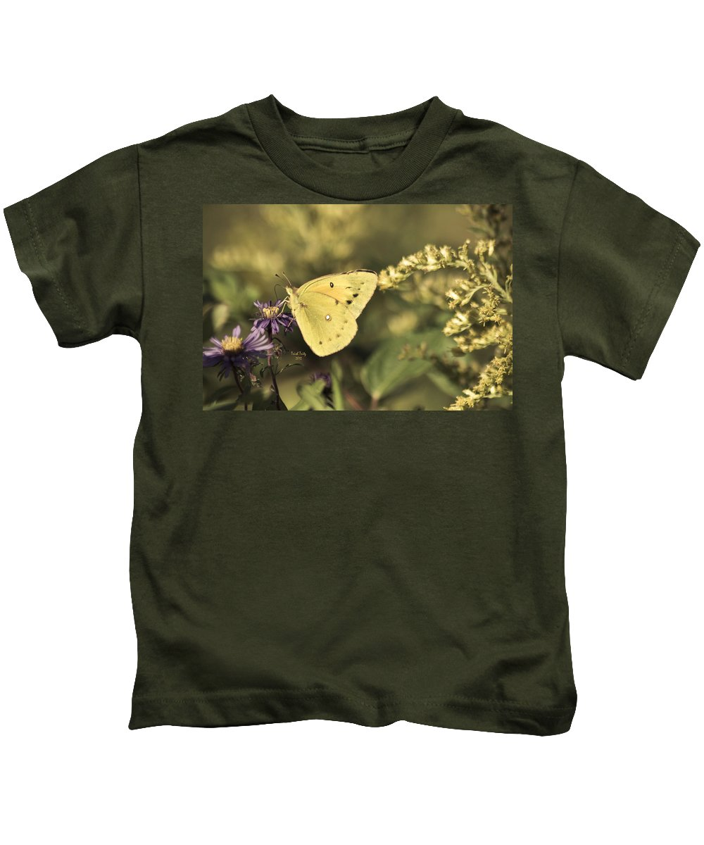 Butterfly Kids T-Shirt featuring the photograph A Little Bit Of Yellow by Trish Tritz