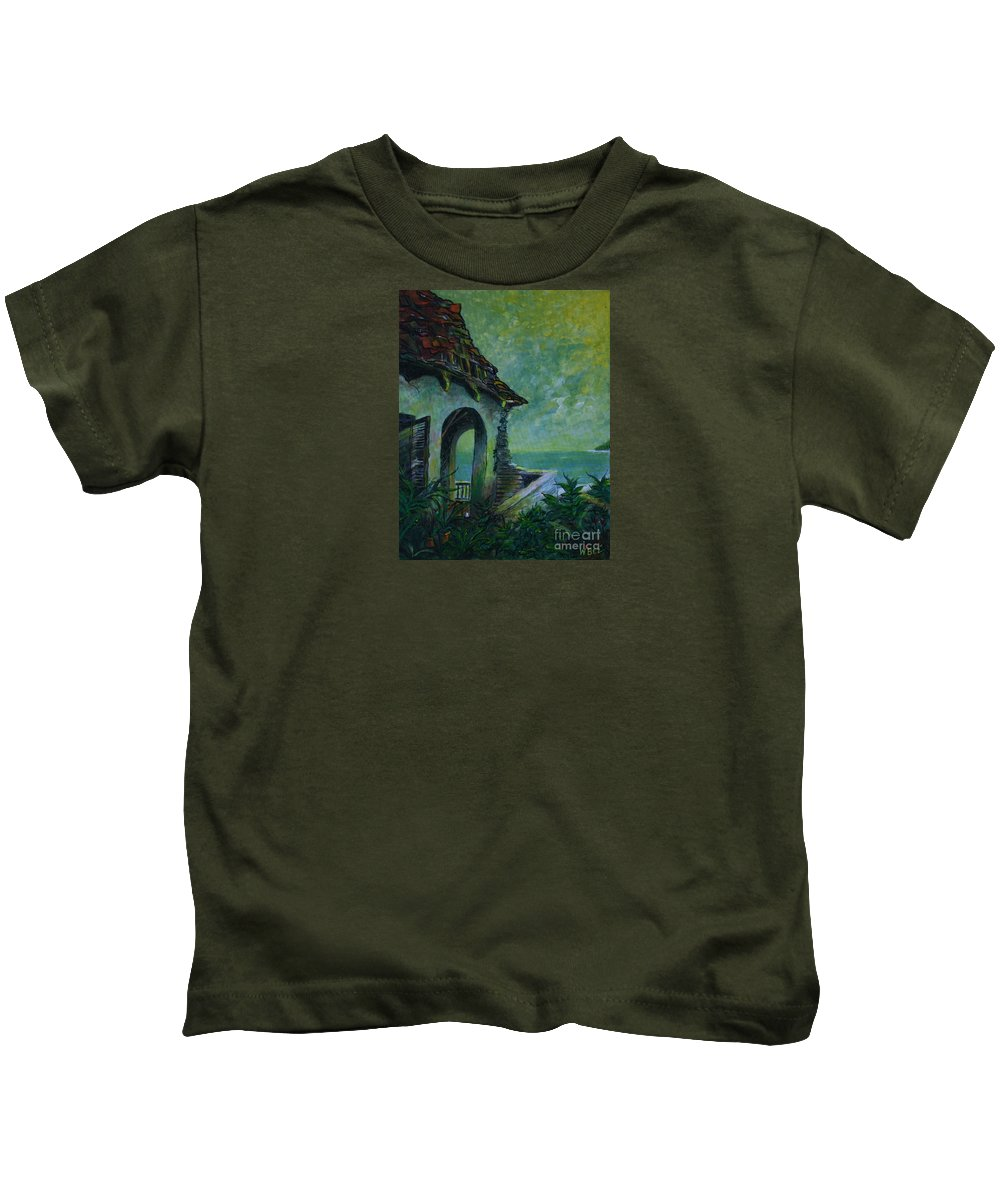 Island Art Kids T-Shirt featuring the painting A Place In The Sun by William Bezik