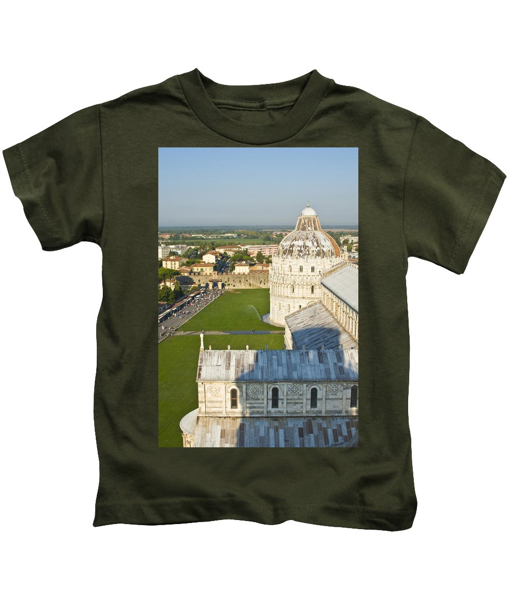 Leaning Tower Kids T-Shirt featuring the photograph A View From The Bell Tower Of Pisa by Richard Henne