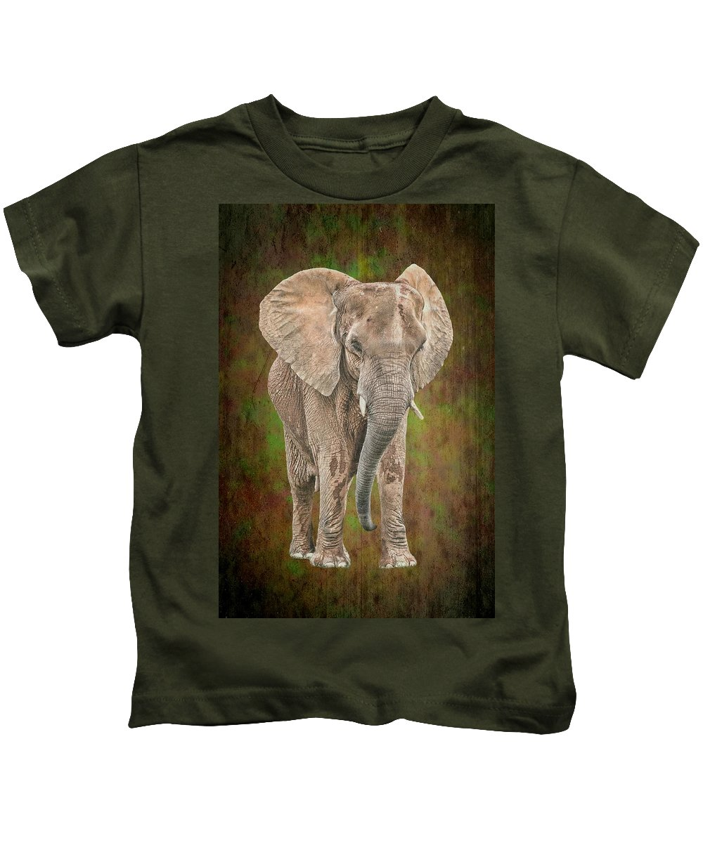 Isolated Kids T-Shirt featuring the photograph African Elephant by Rudy Umans