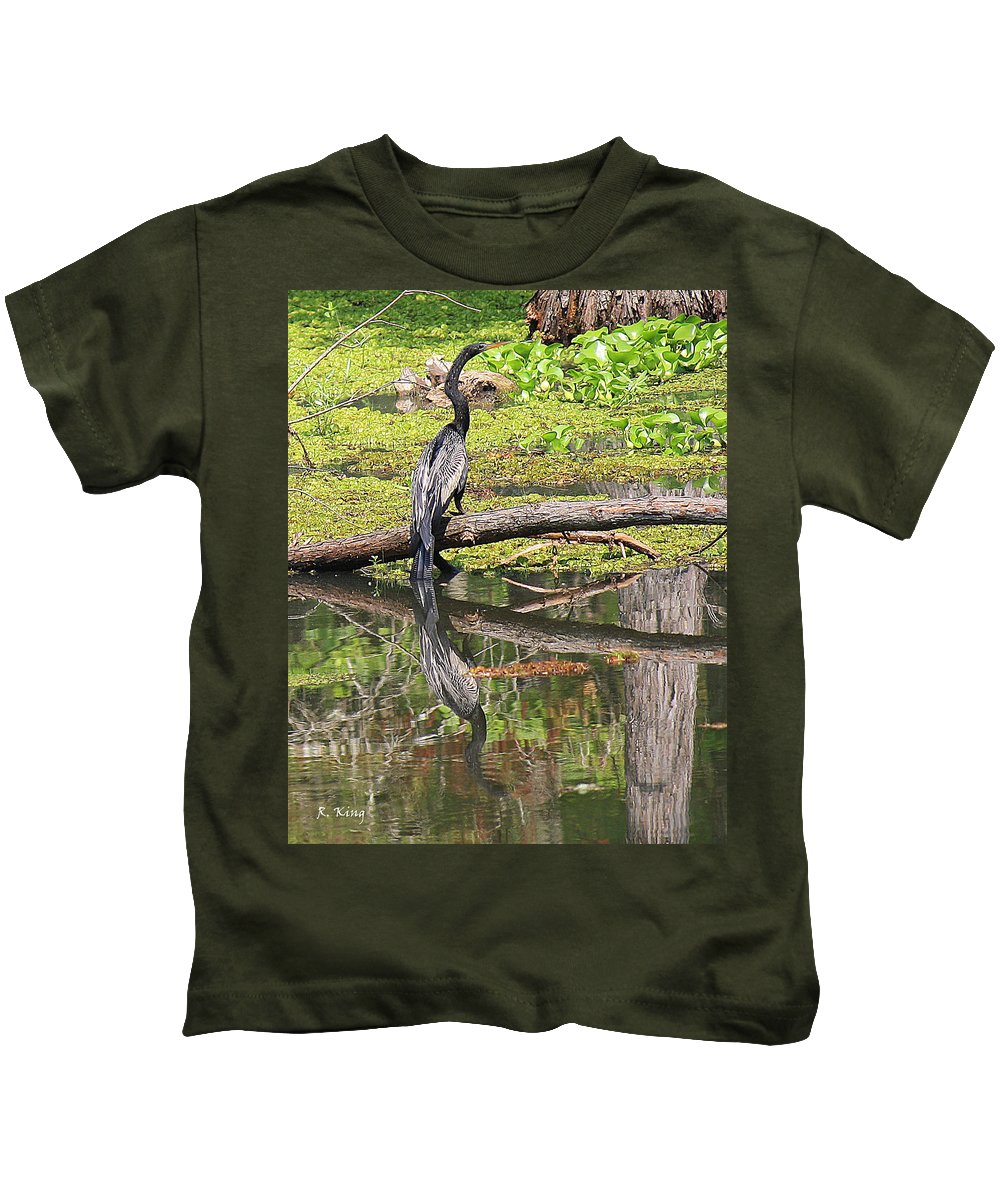 Roena King Kids T-Shirt featuring the photograph Anhinga And Reflection by Roena King