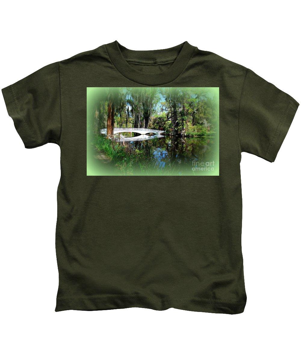 White Bridge Kids T-Shirt featuring the photograph Another White Bridge In Magnolia Gardens Charleston Sc II by Susanne Van Hulst