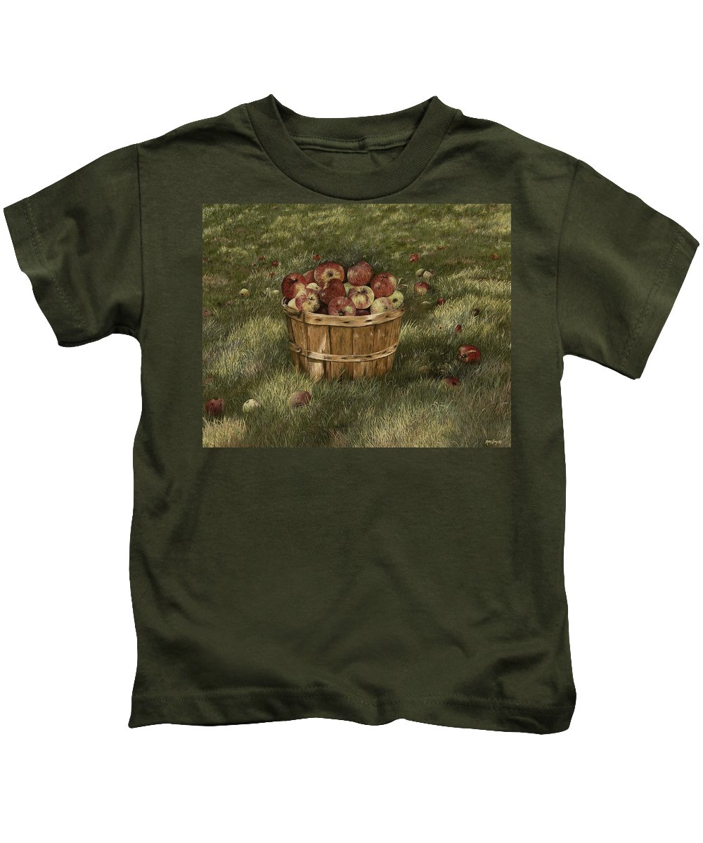Apples Paintings Kids T-Shirt featuring the painting Apples In Basket by Mary Ann King