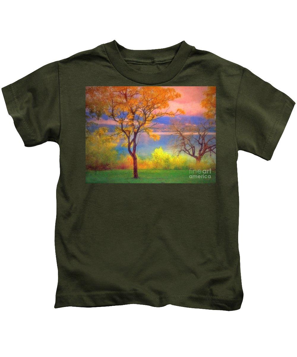 Lake Kids T-Shirt featuring the photograph Autum Morning by Tara Turner