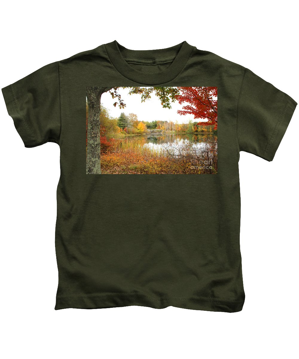 Autumn Kids T-Shirt featuring the photograph Autumn Pond by Mike Nellums