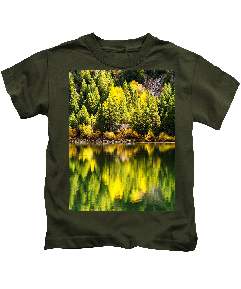 Aspen Kids T-Shirt featuring the photograph Autumn Reflection In Georgetown Lake Colorado by Beth Riser