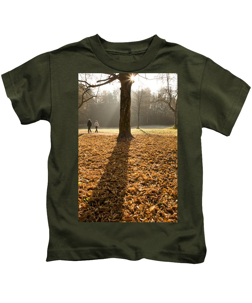 Autumn Kids T-Shirt featuring the photograph Autumn Stroll by Ian Middleton